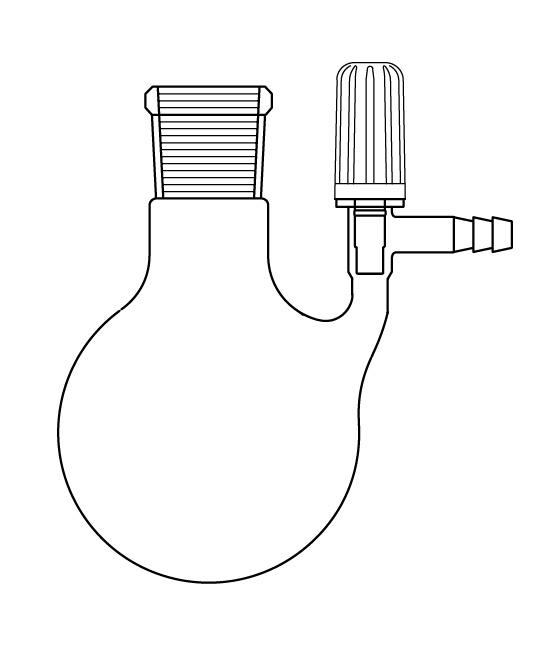 Azot (Schlenk) Balonu, PTFE Valf Musluklu